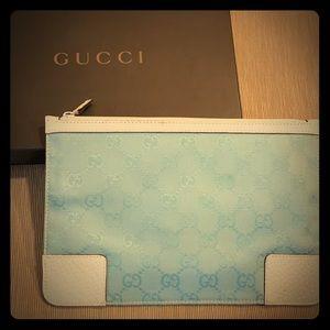 Gucci Signature Baby Blue Clutch